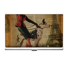 Paris Girl And Great Dane Vintage Newspaper Print Sexy Hot Gil Elvgren Pin Up Girl Paris Eiffel Towe Business Card Holder