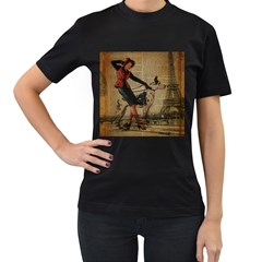 Paris Girl And Great Dane Vintage Newspaper Print Sexy Hot Gil Elvgren Pin Up Girl Paris Eiffel Towe Womens' Two Sided T-shirt (Black)