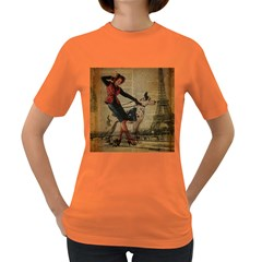 Paris Girl And Great Dane Vintage Newspaper Print Sexy Hot Gil Elvgren Pin Up Girl Paris Eiffel Towe Womens' T-shirt (Colored)