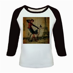 Paris Girl And Great Dane Vintage Newspaper Print Sexy Hot Gil Elvgren Pin Up Girl Paris Eiffel Towe Women s Long Cap Sleeve T-Shirt
