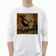 Paris Girl And Great Dane Vintage Newspaper Print Sexy Hot Gil Elvgren Pin Up Girl Paris Eiffel Towe Mens' Long Sleeve T-shirt (White)