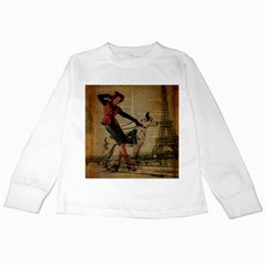 Paris Girl And Great Dane Vintage Newspaper Print Sexy Hot Gil Elvgren Pin Up Girl Paris Eiffel Towe Kids Long Sleeve T-Shirt