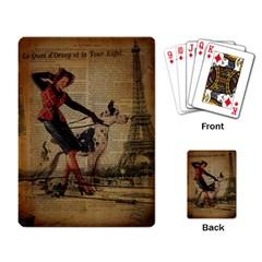 Paris Girl And Great Dane Vintage Newspaper Print Sexy Hot Gil Elvgren Pin Up Girl Paris Eiffel Towe Playing Cards Single Design