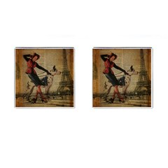 Paris Girl And Great Dane Vintage Newspaper Print Sexy Hot Gil Elvgren Pin Up Girl Paris Eiffel Towe Cufflinks (Square)