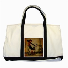 Paris Girl And Great Dane Vintage Newspaper Print Sexy Hot Gil Elvgren Pin Up Girl Paris Eiffel Towe Two Toned Tote Bag