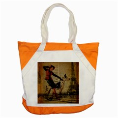 Paris Girl And Great Dane Vintage Newspaper Print Sexy Hot Gil Elvgren Pin Up Girl Paris Eiffel Towe Accent Tote Bag