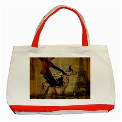 Paris Girl And Great Dane Vintage Newspaper Print Sexy Hot Gil Elvgren Pin Up Girl Paris Eiffel Towe Classic Tote Bag (Red)