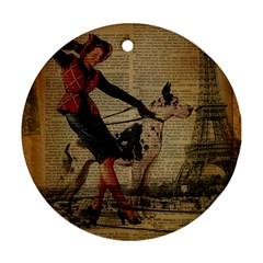 Paris Girl And Great Dane Vintage Newspaper Print Sexy Hot Gil Elvgren Pin Up Girl Paris Eiffel Towe Round Ornament (two Sides)