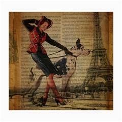 Paris Girl And Great Dane Vintage Newspaper Print Sexy Hot Gil Elvgren Pin Up Girl Paris Eiffel Towe Canvas 16  x 20  (Unframed)