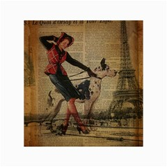 Paris Girl And Great Dane Vintage Newspaper Print Sexy Hot Gil Elvgren Pin Up Girl Paris Eiffel Towe Canvas 18  x 24  (Unframed)
