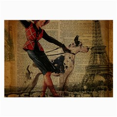 Paris Girl And Great Dane Vintage Newspaper Print Sexy Hot Gil Elvgren Pin Up Girl Paris Eiffel Towe Glasses Cloth (Large)