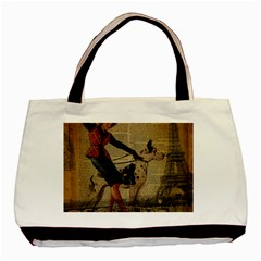 Paris Girl And Great Dane Vintage Newspaper Print Sexy Hot Gil Elvgren Pin Up Girl Paris Eiffel Towe Twin-sided Black Tote Bag
