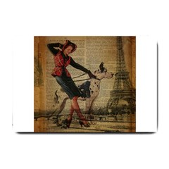 Paris Girl And Great Dane Vintage Newspaper Print Sexy Hot Gil Elvgren Pin Up Girl Paris Eiffel Towe Small Door Mat