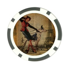 Paris Girl And Great Dane Vintage Newspaper Print Sexy Hot Gil Elvgren Pin Up Girl Paris Eiffel Towe Poker Chip