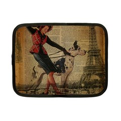 Paris Girl And Great Dane Vintage Newspaper Print Sexy Hot Gil Elvgren Pin Up Girl Paris Eiffel Towe Netbook Case (Small)