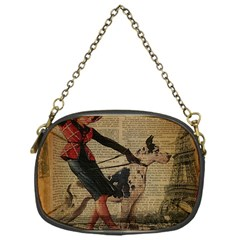 Paris Girl And Great Dane Vintage Newspaper Print Sexy Hot Gil Elvgren Pin Up Girl Paris Eiffel Towe Chain Purse (one Side)