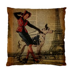 Paris Girl And Great Dane Vintage Newspaper Print Sexy Hot Gil Elvgren Pin Up Girl Paris Eiffel Towe Cushion Case (Two Sided)