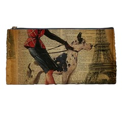 Paris Girl And Great Dane Vintage Newspaper Print Sexy Hot Gil Elvgren Pin Up Girl Paris Eiffel Towe Pencil Case