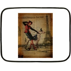Paris Girl And Great Dane Vintage Newspaper Print Sexy Hot Gil Elvgren Pin Up Girl Paris Eiffel Towe Mini Fleece Blanket (Two Sided)