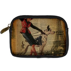 Paris Girl And Great Dane Vintage Newspaper Print Sexy Hot Gil Elvgren Pin Up Girl Paris Eiffel Towe Digital Camera Leather Case