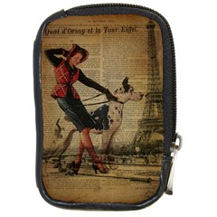 Paris Girl And Great Dane Vintage Newspaper Print Sexy Hot Gil Elvgren Pin Up Girl Paris Eiffel Towe Compact Camera Leather Case