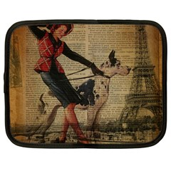 Paris Girl And Great Dane Vintage Newspaper Print Sexy Hot Gil Elvgren Pin Up Girl Paris Eiffel Towe Netbook Case (XXL)