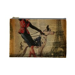 Paris Girl And Great Dane Vintage Newspaper Print Sexy Hot Gil Elvgren Pin Up Girl Paris Eiffel Towe Cosmetic Bag (large)