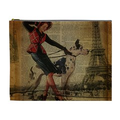 Paris Girl And Great Dane Vintage Newspaper Print Sexy Hot Gil Elvgren Pin Up Girl Paris Eiffel Towe Cosmetic Bag (XL)