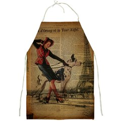 Paris Girl And Great Dane Vintage Newspaper Print Sexy Hot Gil Elvgren Pin Up Girl Paris Eiffel Towe Apron