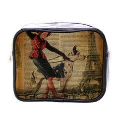 Paris Girl And Great Dane Vintage Newspaper Print Sexy Hot Gil Elvgren Pin Up Girl Paris Eiffel Towe Mini Travel Toiletry Bag (one Side)