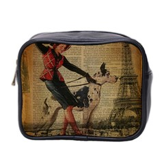 Paris Girl And Great Dane Vintage Newspaper Print Sexy Hot Gil Elvgren Pin Up Girl Paris Eiffel Towe Mini Travel Toiletry Bag (two Sides)