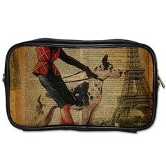 Paris Girl And Great Dane Vintage Newspaper Print Sexy Hot Gil Elvgren Pin Up Girl Paris Eiffel Towe Travel Toiletry Bag (Two Sides)