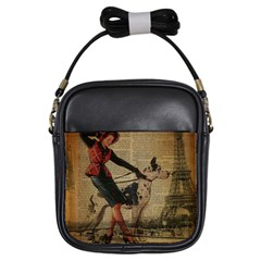 Paris Girl And Great Dane Vintage Newspaper Print Sexy Hot Gil Elvgren Pin Up Girl Paris Eiffel Towe Girl s Sling Bag