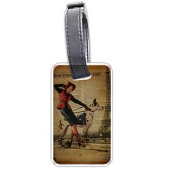 Paris Girl And Great Dane Vintage Newspaper Print Sexy Hot Gil Elvgren Pin Up Girl Paris Eiffel Towe Luggage Tag (Two Sides)