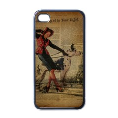 Paris Girl And Great Dane Vintage Newspaper Print Sexy Hot Gil Elvgren Pin Up Girl Paris Eiffel Towe Apple Iphone 4 Case (black)