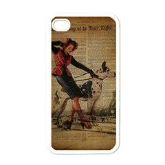 Paris Girl And Great Dane Vintage Newspaper Print Sexy Hot Gil Elvgren Pin Up Girl Paris Eiffel Towe Apple iPhone 4 Case (White)