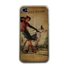 Paris Girl And Great Dane Vintage Newspaper Print Sexy Hot Gil Elvgren Pin Up Girl Paris Eiffel Towe Apple iPhone 4 Case (Clear)
