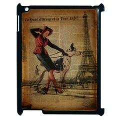 Paris Girl And Great Dane Vintage Newspaper Print Sexy Hot Gil Elvgren Pin Up Girl Paris Eiffel Towe Apple iPad 2 Case (Black)