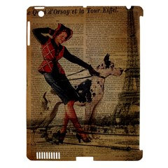 Paris Girl And Great Dane Vintage Newspaper Print Sexy Hot Gil Elvgren Pin Up Girl Paris Eiffel Towe Apple iPad 3/4 Hardshell Case (Compatible with Smart Cover)