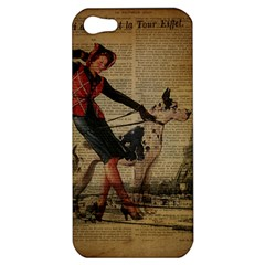 Paris Girl And Great Dane Vintage Newspaper Print Sexy Hot Gil Elvgren Pin Up Girl Paris Eiffel Towe Apple iPhone 5 Hardshell Case