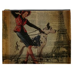 Paris Girl And Great Dane Vintage Newspaper Print Sexy Hot Gil Elvgren Pin Up Girl Paris Eiffel Towe Cosmetic Bag (XXXL)