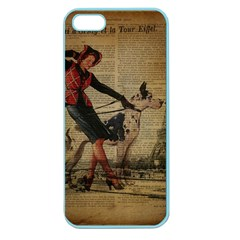 Paris Girl And Great Dane Vintage Newspaper Print Sexy Hot Gil Elvgren Pin Up Girl Paris Eiffel Towe Apple Seamless Iphone 5 Case (color)