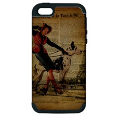 Paris Girl And Great Dane Vintage Newspaper Print Sexy Hot Gil Elvgren Pin Up Girl Paris Eiffel Towe Apple iPhone 5 Hardshell Case (PC+Silicone)