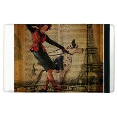 Paris Girl And Great Dane Vintage Newspaper Print Sexy Hot Gil Elvgren Pin Up Girl Paris Eiffel Towe Apple iPad 3/4 Flip Case