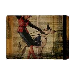 Paris Girl And Great Dane Vintage Newspaper Print Sexy Hot Gil Elvgren Pin Up Girl Paris Eiffel Towe Apple iPad Mini Flip Case