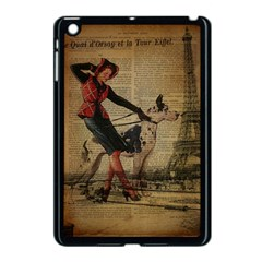 Paris Girl And Great Dane Vintage Newspaper Print Sexy Hot Gil Elvgren Pin Up Girl Paris Eiffel Towe Apple iPad Mini Case (Black)