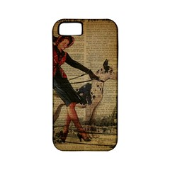Paris Girl And Great Dane Vintage Newspaper Print Sexy Hot Gil Elvgren Pin Up Girl Paris Eiffel Towe Apple iPhone 5 Classic Hardshell Case (PC+Silicone)