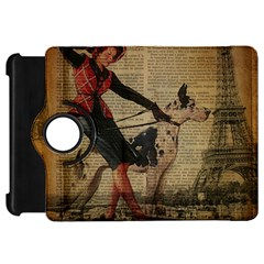 Paris Girl And Great Dane Vintage Newspaper Print Sexy Hot Gil Elvgren Pin Up Girl Paris Eiffel Towe Kindle Fire Hd 7  Flip 360 Case