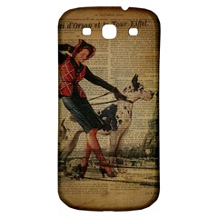 Paris Girl And Great Dane Vintage Newspaper Print Sexy Hot Gil Elvgren Pin Up Girl Paris Eiffel Towe Samsung Galaxy S3 S III Classic Hardshell Back Case