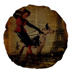 Paris Girl And Great Dane Vintage Newspaper Print Sexy Hot Gil Elvgren Pin Up Girl Paris Eiffel Towe 18  Premium Round Cushion